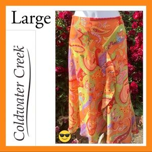 Beautiful! Orange Purple Green Paisley Skirt Aline